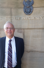 Dr. Jason Smith at the South African Office of the Presidency for a presentation.