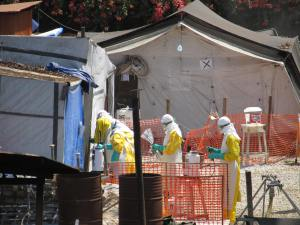 2015 02 09 446 DONKA HOSPITAL EBOLA TREATMENT CENTER -- CLOSER IN 10